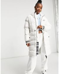 The Couture Club Contrast Signature Longline Padded Jacket - White