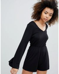 Monki - Long Sleeve Playsuit - Lyst