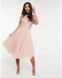 Chi Chi London Kanten Midi-jurk Met 3/4 Mouwen - Roze