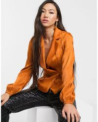 Glamorous Tailored Blouse With Tie Front - Orange