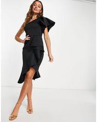 True Violet Vestido midi negro asimétrico con volantes