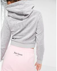 Juicy Couture Co-ord Velour Hoodie With Back Diamonte Logo - Metallic