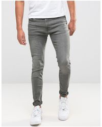 Jack & Jones – Intelligence – Eng geschnittene Jeans - Grau