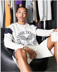 ASOS Lounge Sweat And Short Pyjama Set With Tennis Print - Black