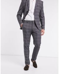 SELECTED Suit Pants Slim Fit Gray Check