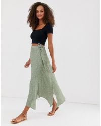 New Look Ditsy Floral Midi Skirt In Green Pattern