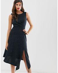 Closet Платье-трапеция С Драпировкой Closet-темно-синий