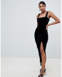ASOS - Velvet Square Neck Maxi Dress - Lyst