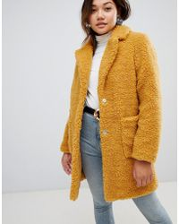 New Look - Teddy Fur Coat In Mustard - Lyst