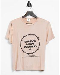 """Adolescent Clothing T-shirt da casa color beige con scritta """"Brave New World"""" - Neutro"""