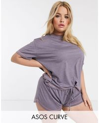 ASOS Asos Design Curve Mix & Match Jersey Pyjama Tee With Overlock-pink - Purple