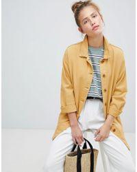 Pull&Bear - Mustard Longline Denim Jacket - Lyst