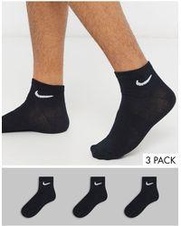 Nike 3 Пары Черных Носков До Щиколотки -черный