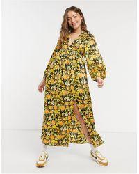 ASOS - Платье Миди С Глубоким Вырезом И Цветочным Принтом - Lyst