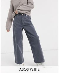 ASOS Asos Design Petite - Ruimvallende Dad Jeans Met Hoge Taille - Grijs