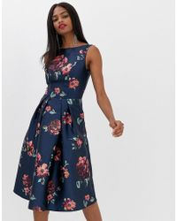 Chi Chi London - Midi Dress In Navy Floral - Lyst