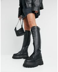 ASOS Camera Chunky Lace Up Knee Boots - Black