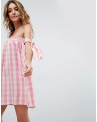ASOS - Beach Dress In Gingham With Bunny Ties - Lyst
