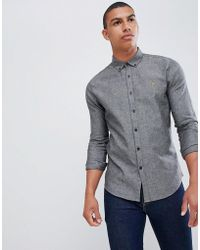 Farah Steen Slim Fit Textured Shirt In Grey - Gray