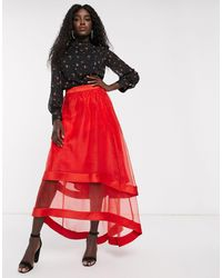 Chi Chi London High Low Organza Maxi Skirt - Red