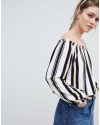 Bershka - Bardot Top In Multi Stripe Print - Lyst
