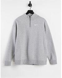 Nike - Серый Oversized-свитшот С Короткой Молнией И Маленьким Логотипом-галочкой - Lyst