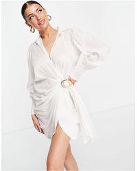 River Island Vestido camisero corto blanco