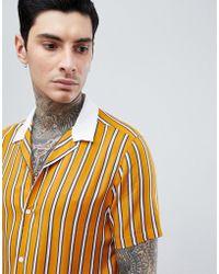 ASOS Viscose Stripe Shirt With Contrast Collar - Yellow