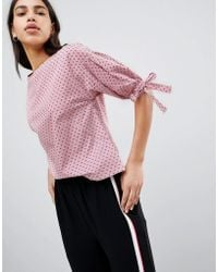 Esprit - Polka Dot And Stripe Shell Top With Tie Sleeves - Lyst