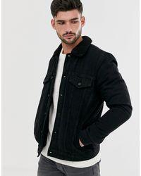 Only & Sons Borg Lined Denim Jacket - Black