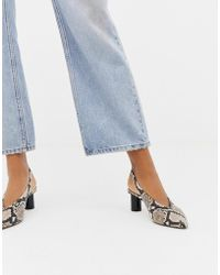 Office - Mischief Snake Effect Slingback Heeled Shoes - Lyst