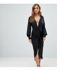 Boohoo Slinky Twist Midi Dress In Black