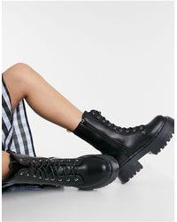 NA-KD Черные Ботинки На Шнуровке С Фактурной Подошвой -черный Цвет