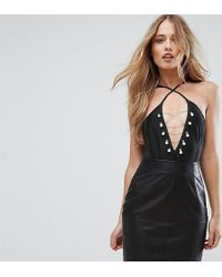 Missguided - Pearl Chain Detail Bandage Body - Lyst