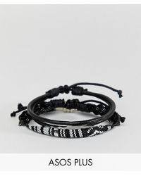 ASOS Lot de bracelets en cuir et tresss - Noir
