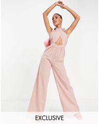 Missguided Розовый Комбинезон С Широкими Штанинами, Запахом И Завязкой На Шее -розовый Цвет