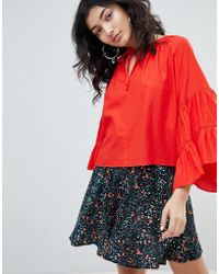 Weekday - Bell Sleeve Artists Shirt In Ditsy Print In Red - Lyst