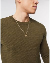 ASOS Double Layer Neckchain With Cross And Coin Charms - Metallic