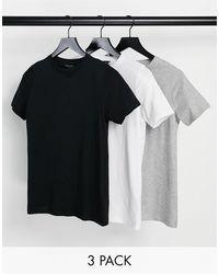 New Look – Girlfriend-T-Shirts im 3er-Pack - Grau