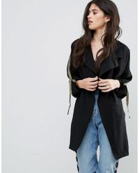 Missguided Black Tape Detail Waterfall Parka Coat