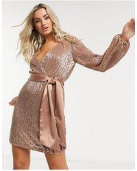 Forever New Розовое Платье Мини С Запахом И Пайетками -розовый - Коричневый
