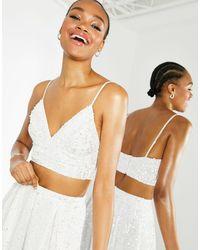 ASOS Embellished Cami Bridal Crop Top - White