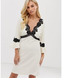 Little Mistress Flute Sleeve Skater Mini Dress With Lace Detail - Natural