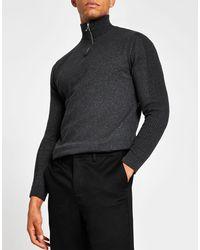 River Island Half Zip Funnel Neck Sweater - Gray