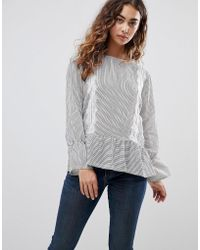 3c47c678b60928 B.Young - Stripe Top With Lace Panels - Lyst
