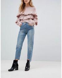 Miss Selfridge Twist Seam Mom Jeans - Blue
