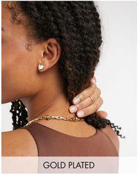 Kate Spade Petites boucles d'oreilles cœur en plaqué or - Blanc