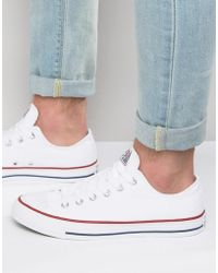 Converse - All Star Ox Plimsolls In White M7652 - Lyst