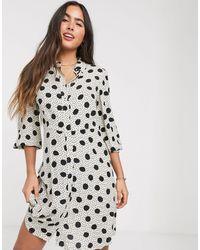 Mango Button Front Shirt Dress - Multicolour