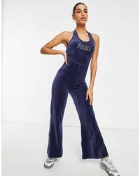 PUMA Темно-синий Облегающий Комбинезон Icons 2.0 Fashion